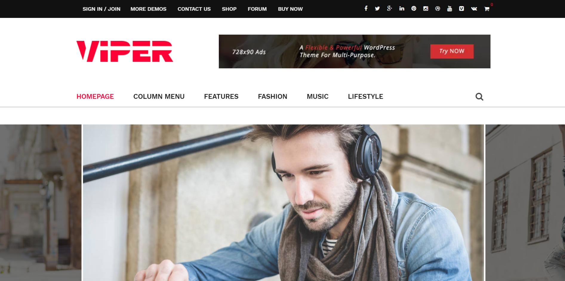 Viper WordPress theme